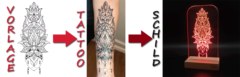 TAT-TWO - Dein Tattoo als Leuchtschild (Mandala)